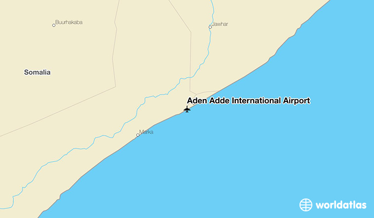 Aden Adde International Airport location on a map