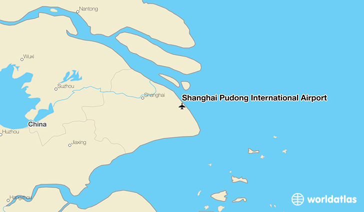 Shanghai Pudong International Airport location on a map
