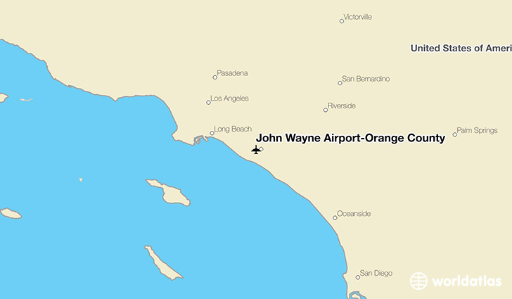 John Wayne Airport-Orange County location on a map
