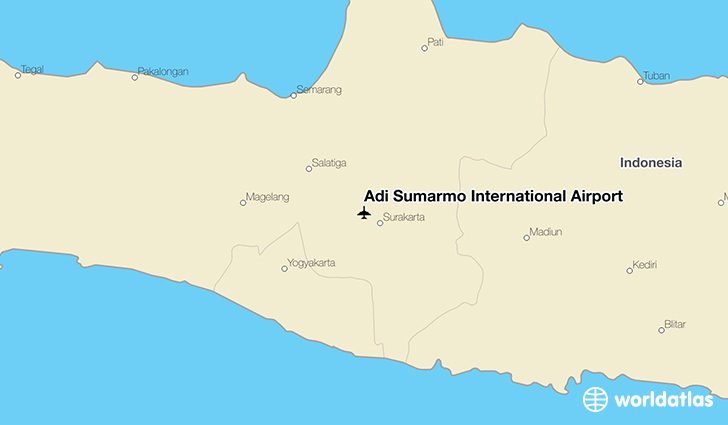 Adi Sumarmo International Airport location on a map