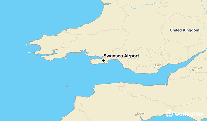 Swansea Airport location on a map