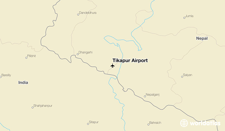 Tikapur Airport location on a map