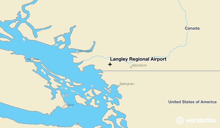 Langley Regional Airport location on a map