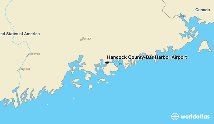 Hancock County-Bar Harbor Airport location on a map