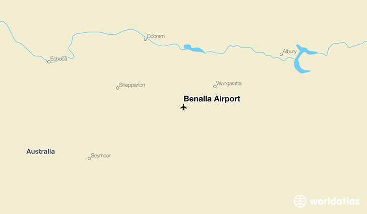 Benalla Airport location on a map