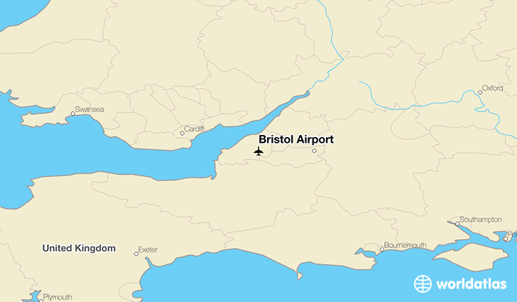 Bristol Airport location on a map