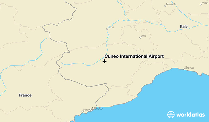 Cuneo International Airport location on a map