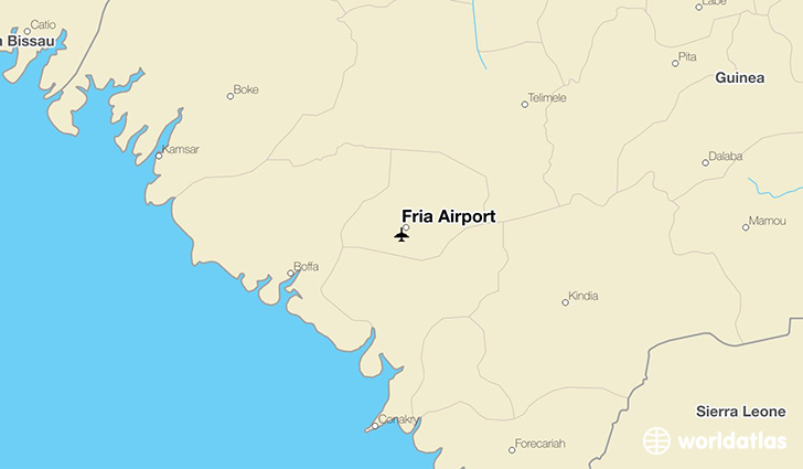 Fria Airport location on a map