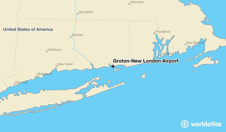 Groton-New London Airport location on a map