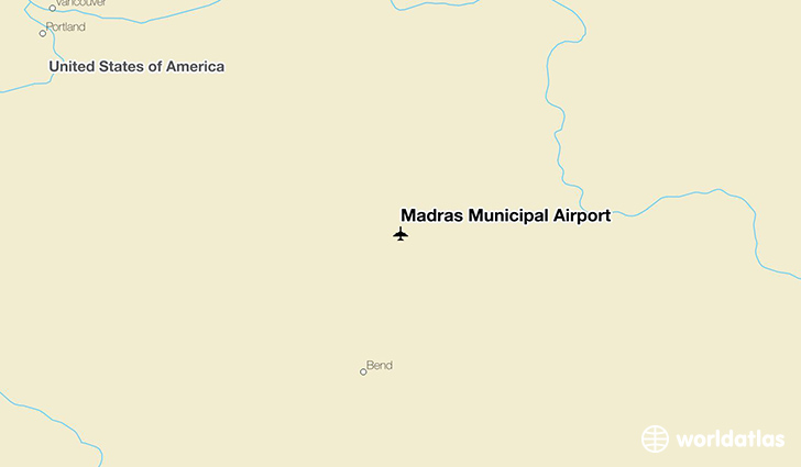 Madras Municipal Airport location on a map