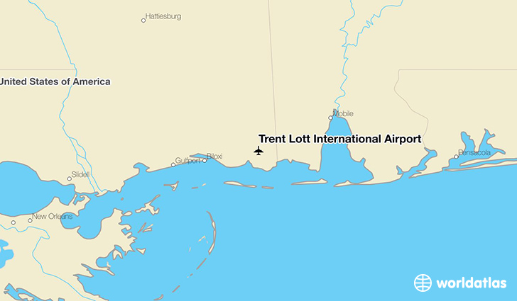 Trent Lott International Airport location on a map
