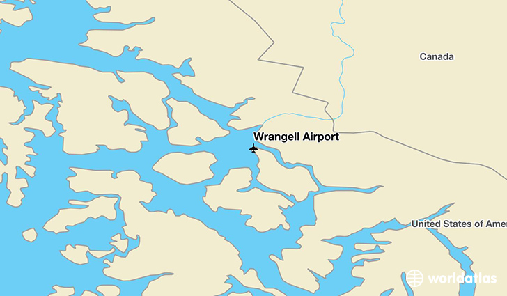 Wrangell Airport location on a map