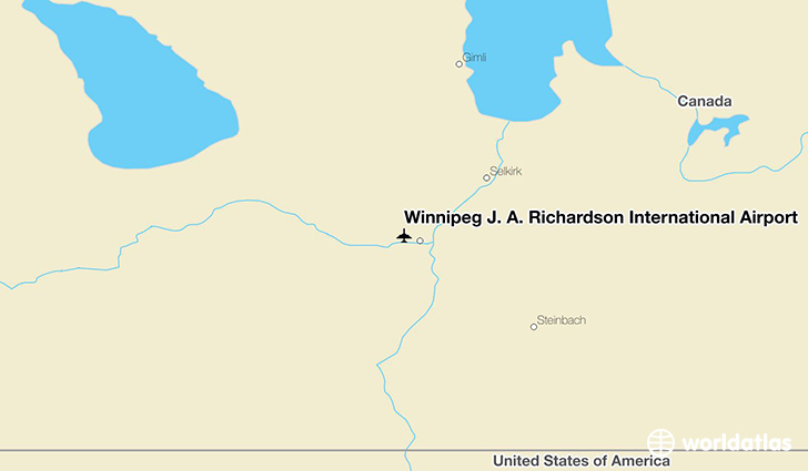 Winnipeg J. A. Richardson International Airport location on a map