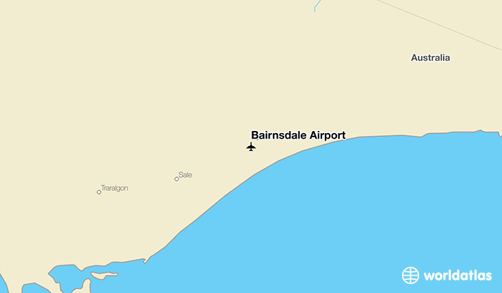 Bairnsdale Airport location on a map