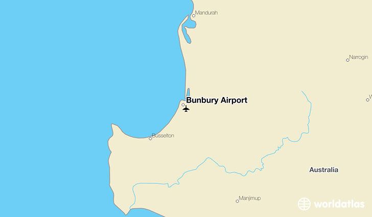 Bunbury Airport location on a map