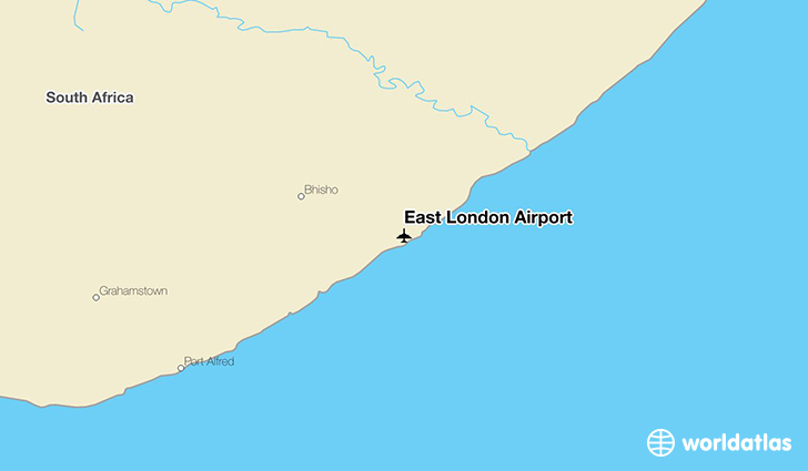 East London Airport location on a map