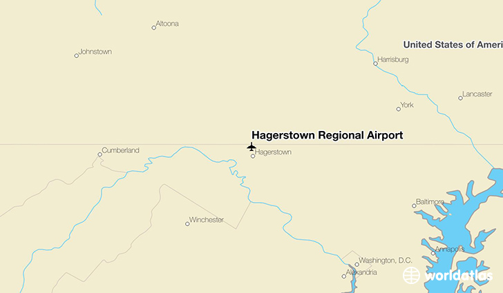 Hagerstown Regional Airport location on a map