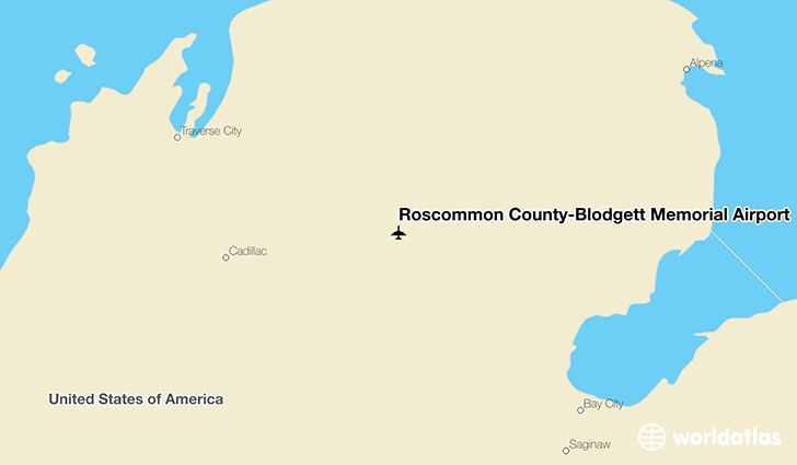 Roscommon County-Blodgett Memorial Airport location on a map