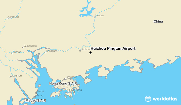 Huizhou Pingtan Airport location on a map