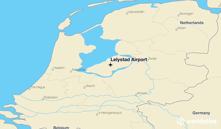 Lelystad Airport location on a map