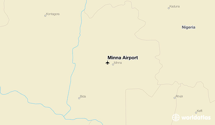 Minna Airport location on a map