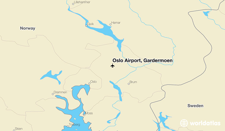 Oslo Airport, Gardermoen location on a map