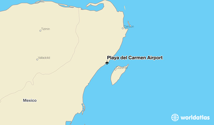 Playa del Carmen Airport location on a map