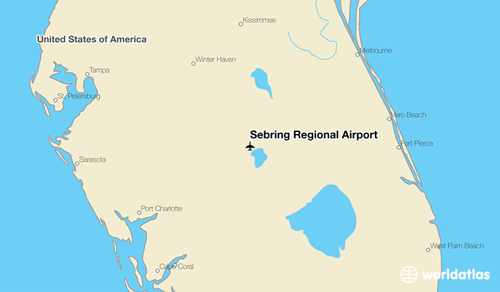 Sebring Regional Airport location on a map
