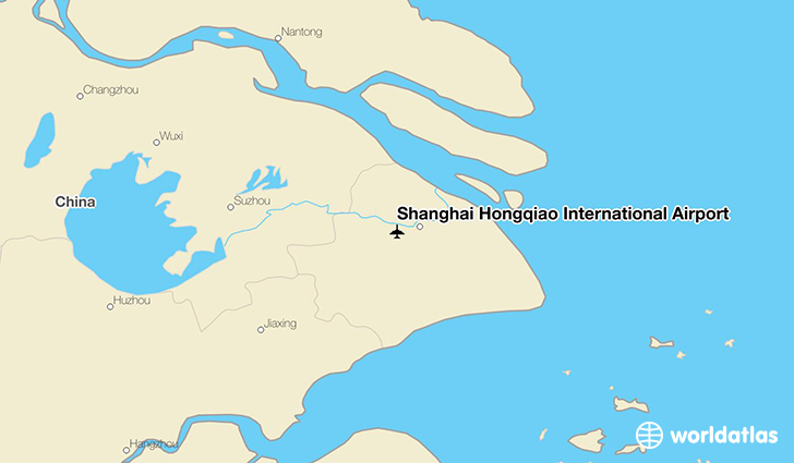 Shanghai Hongqiao International Airport location on a map