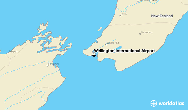 Wellington International Airport location on a map