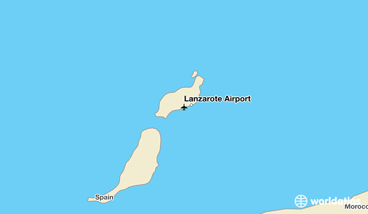 Lanzarote Airport location on a map