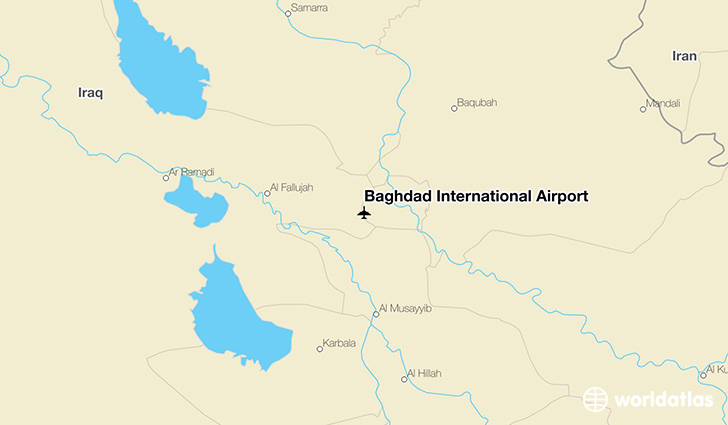 Baghdad International Airport location on a map