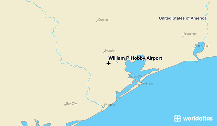 William P Hobby Airport location on a map