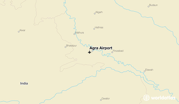 Agra Airport location on a map