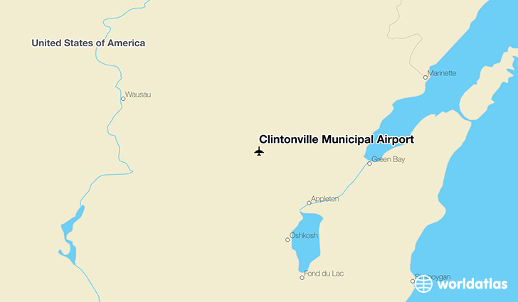 Clintonville Municipal Airport location on a map