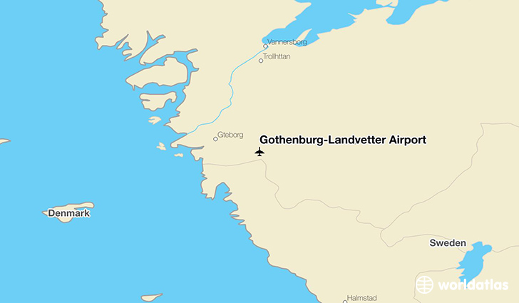 Gothenburg-Landvetter Airport location on a map