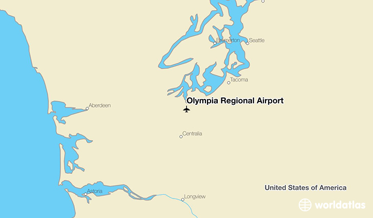Olympia Regional Airport location on a map