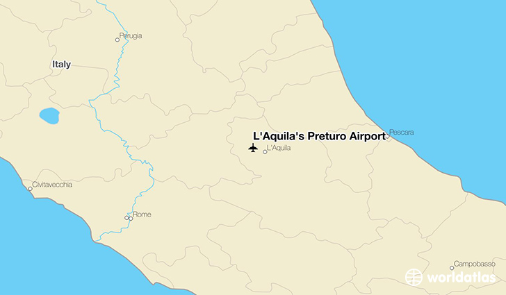 L'Aquila's Preturo Airport location on a map