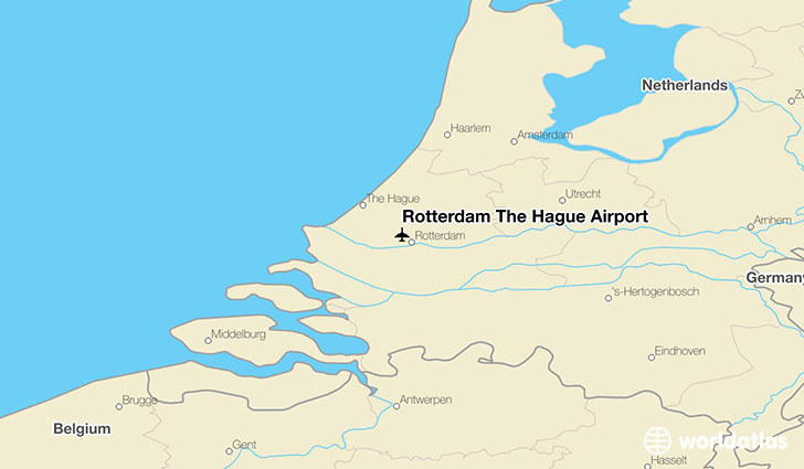 Rotterdam The Hague Airport location on a map