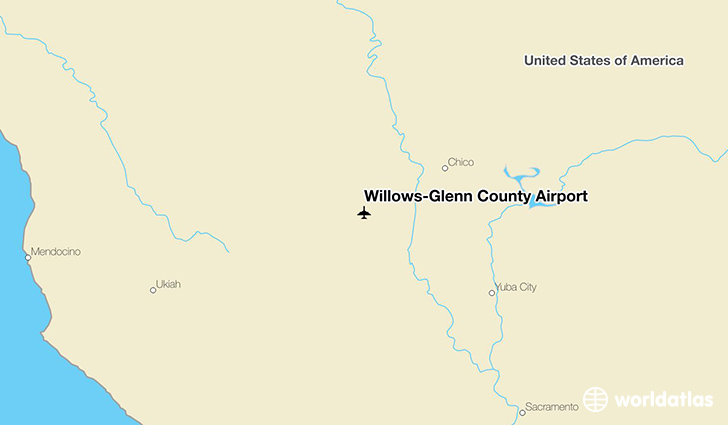 Willows (CA) United States  city photos : Location of Willows Glenn County Airport on a map.