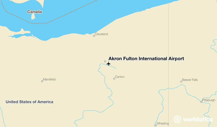Akron Fulton International Airport location on a map