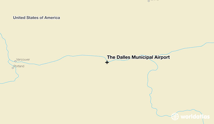 The Dalles Municipal Airport location on a map