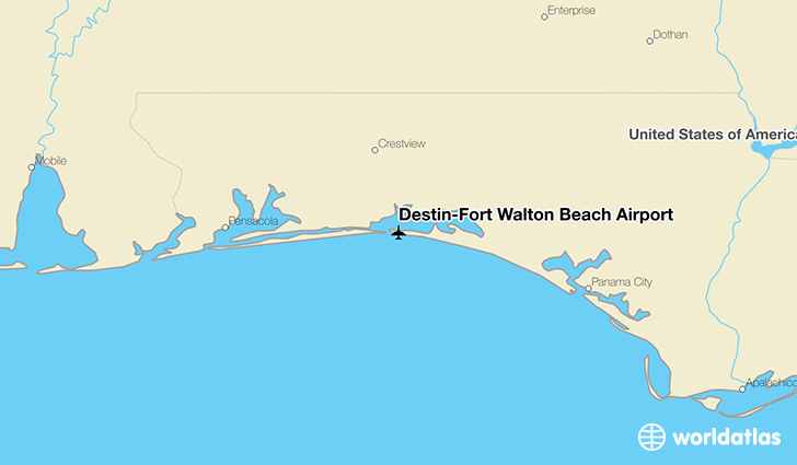 Destin–Fort Walton Beach Airport location on a map
