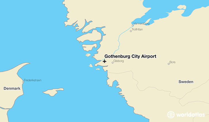Gothenburg City Airport location on a map