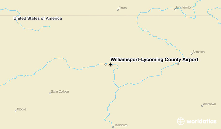 Williamsport-Lycoming County Airport location on a map