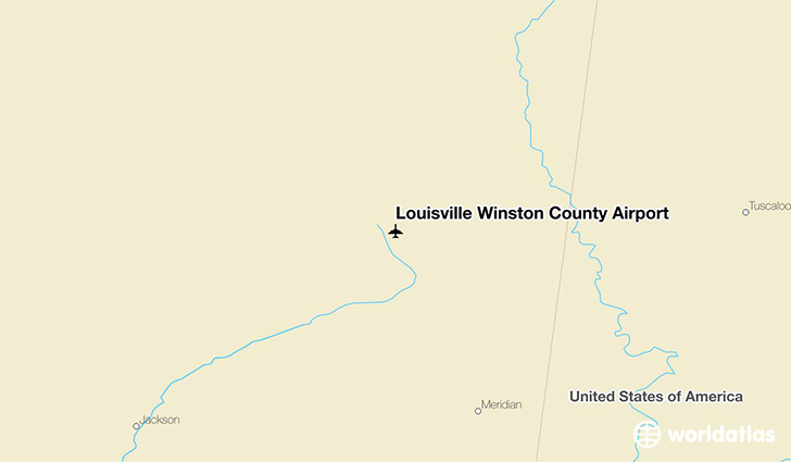 Louisville Winston County Airport location on a map