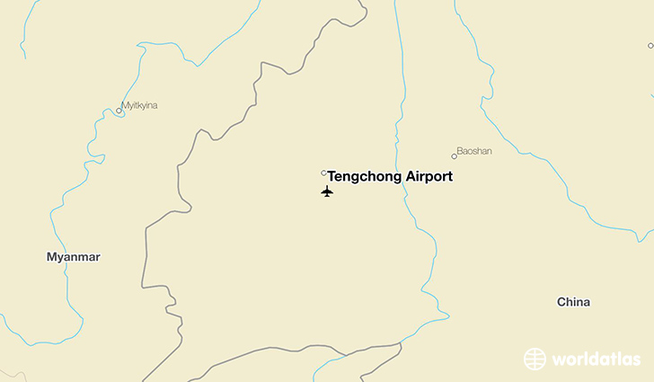 Tengchong Airport location on a map