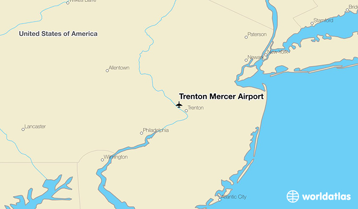 Trenton Mercer Airport location on a map
