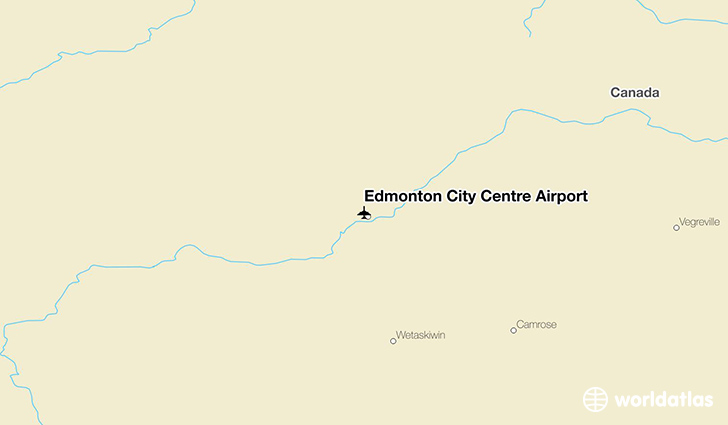 Edmonton City Centre Airport location on a map