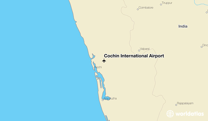 Cochin International Airport location on a map